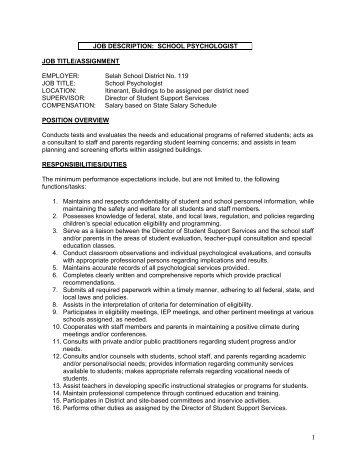 Lovely Job Description: School Psychologist   Selah School District