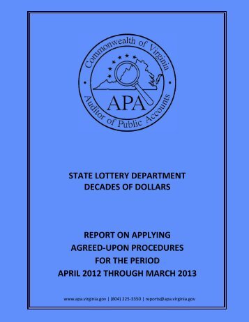 State Lottery Department Decades of Dollars report on Applying ...