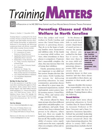 Parenting Classes and Child Welfare in North ... - Training Matters