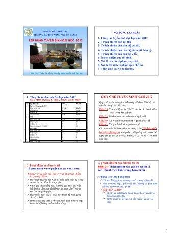 Tài liệu tập huấn coi thi tuyển sinh năm 2012