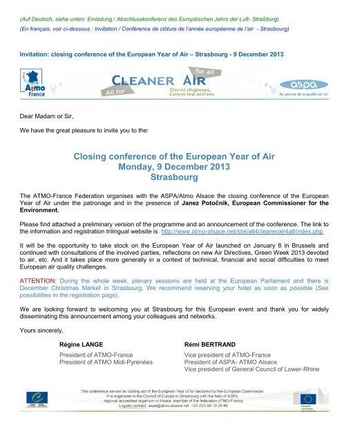 Closing conference of the European Year of Air ... - DAIR Project
