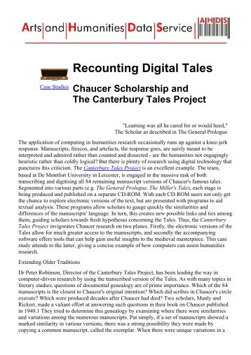 AHDS Case Studies: The Canterbury Tales Project