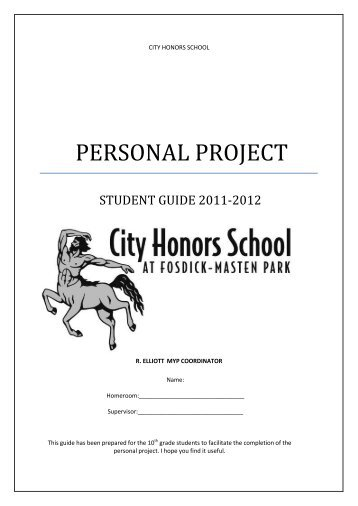Personal Project Guide 2011-2012 - City Honors School