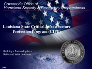 Louisiana State Critical Infrastructure Protection Program (CIPP)