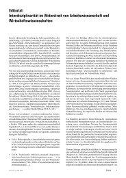 Editorial: Interdisziplinarität im Widerstreit von Arbeitswissenschaft ...