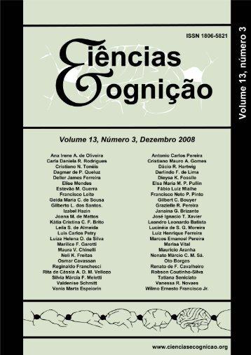 Ciências & Cognição - Vol 13(3), novembro, 2008. - Ciências e ...