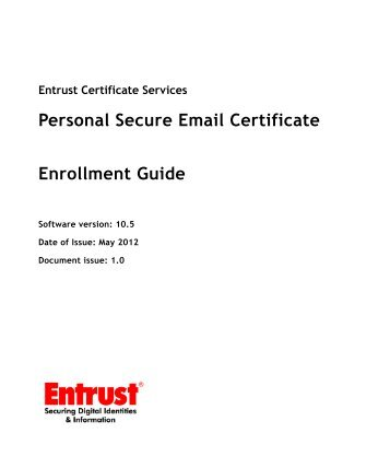 Personal Secure Email Certificate - Entrust