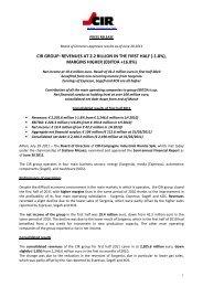 1H 2011 results PDF File (144Kb) - CIR Compagnie Industriali Riunite