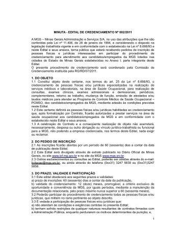 EDITAL DE CREDENCIAMENTO Nº 002/2011 A MGS – Minas ...