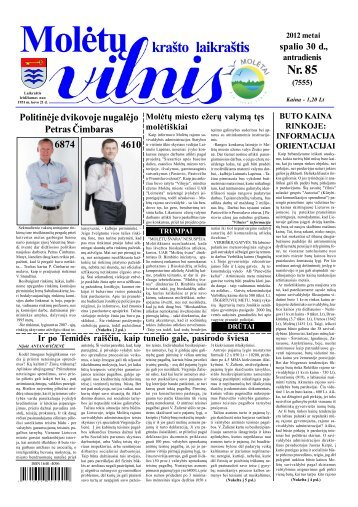 2012 spalio 30 d., antradienis Nr.85 - 2013 - VILNIS