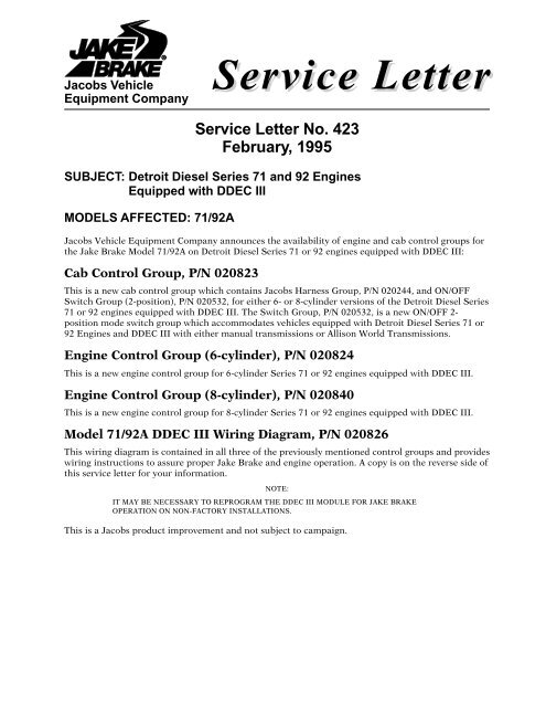 ddec ii wiring diagram service letter jacobs vehicle systems  service letter jacobs vehicle systems