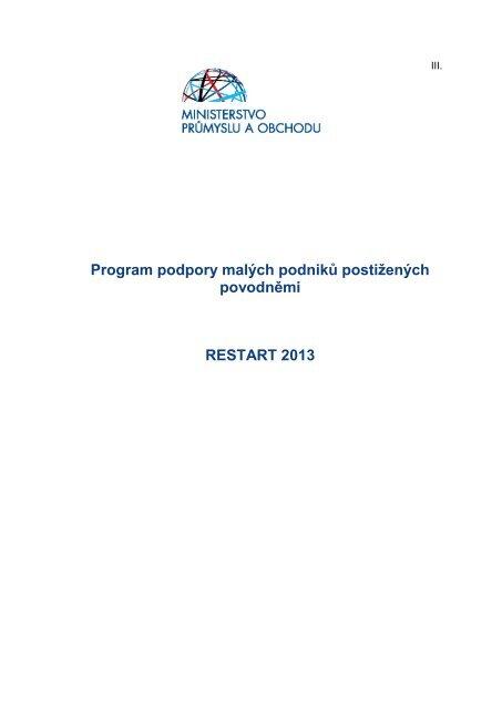 Program RESTART 2013 - CzechInvest