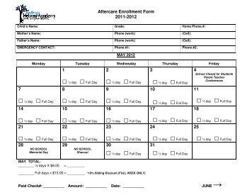 Aftercare Enrollment Form 2011-2012 1 2 3 4 7 8 9 10 11 14 15 16 ...