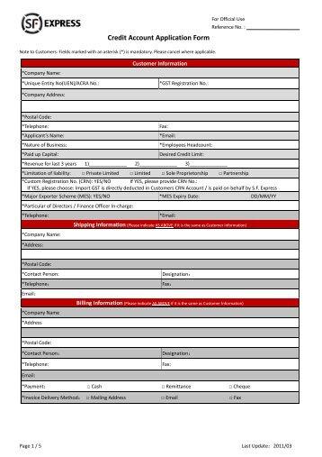 Credit Account Application Form
