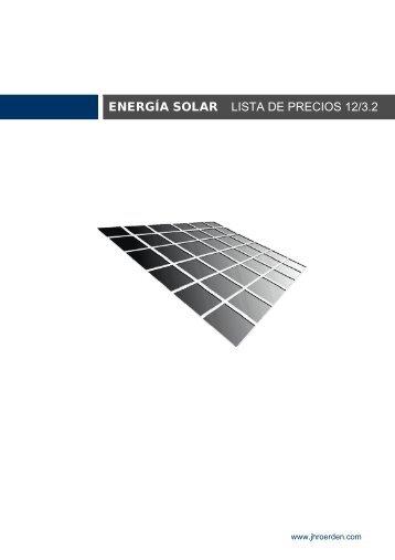 ENERGÍA SOLAR LISTA DE PRECIOS 12/3.2 - JHRoerden