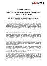 Cfp Tagung ASPM 2011 - Prof. Dr. Christoph Jacke