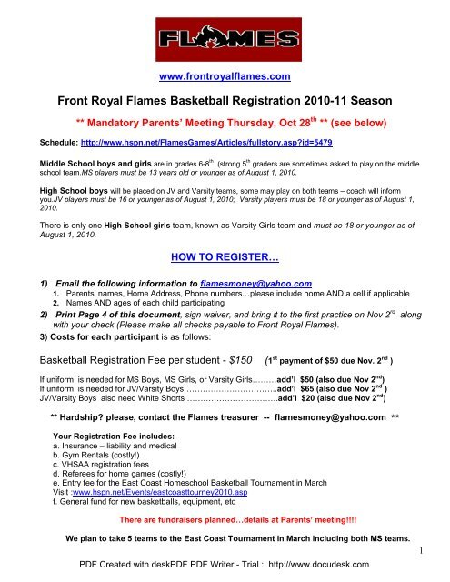 Front Royal Flames Basketball Registration 2010-11 Season