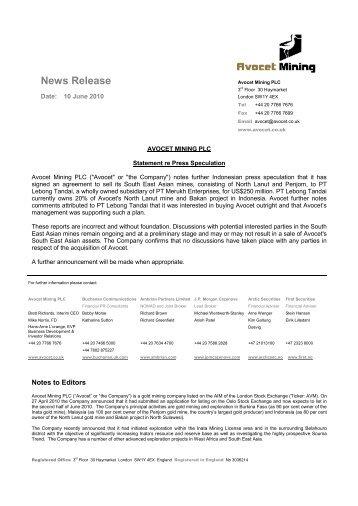 News Release - Avocet Mining PLC