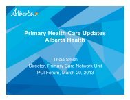 Primary Health Care Updates Alberta Health - Primary Care Initiative