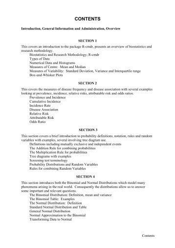 CONTENTS - Department of Mathematics and Statistics - University ...
