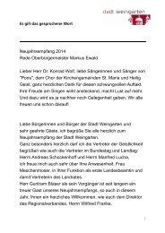 Neujahrsansprache des Oberbürgermeister ... - Stadt Weingarten