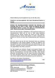 Medienmitteilung Arosa Bergbahnen AG vom 12