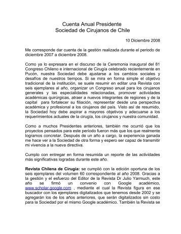Memoria 2008, Dr. JHepp - Sociedad de Cirujanos de Chile