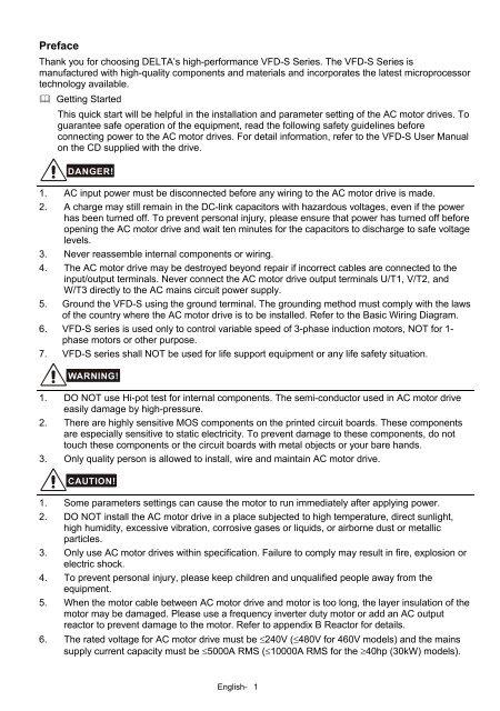 Delta Vfd S Quick Start Manual