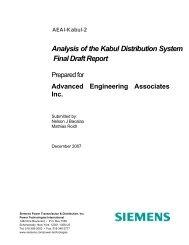 Analysis of the Kabul Distribution System Final Draft Report - Afghan