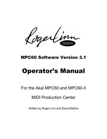 MPC60 Users Manual Updated for v3.10 - Roger Linn Design