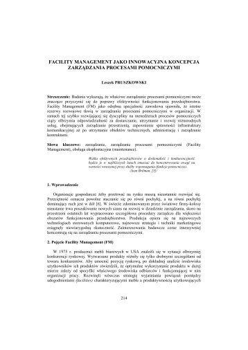 facility management jako innowacyjna koncepcja ... - PTZP