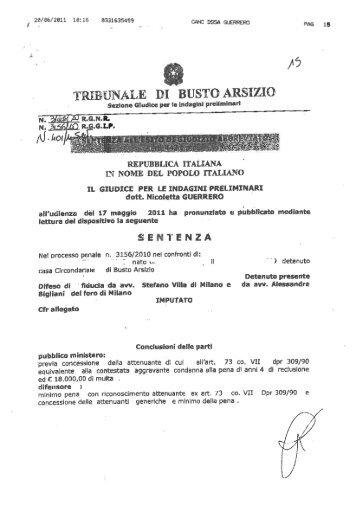 TRIEUNÀLE DI BUSTO ARSIZIO - Camerapenaledimonza.it