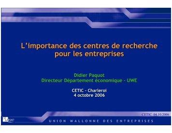 L'importance des centres de recherche pour les entreprises - Cetic