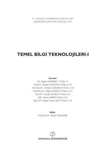 TEMEL B‹LG‹ TEKNOLOJ‹LER‹-I - Anadolu Üniversitesi