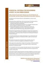 essential criteria for describing a body as an ombudsman