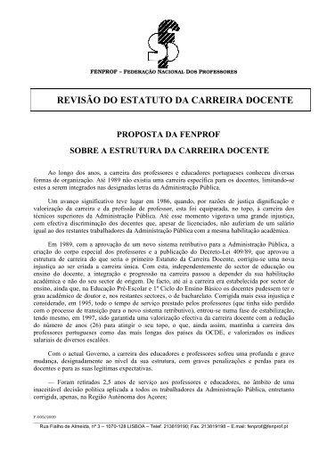 REVISÃO DO ESTATUTO DA CARREIRA DOCENTE - Fenprof