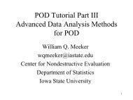 POD Tutorial Part III Advanced Data Analysis Methods for POD