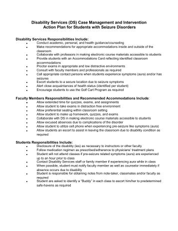 Seizure disorder emergency action plan for Seizure action plan template