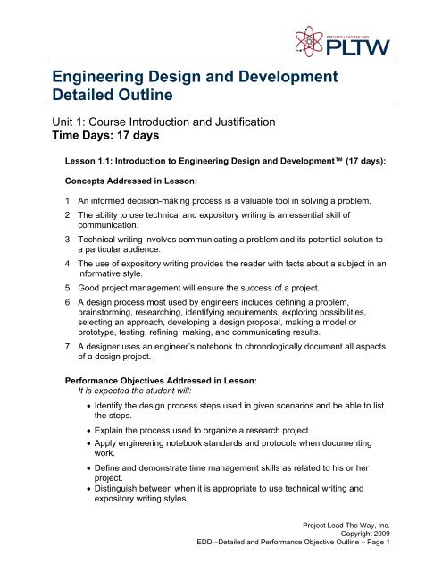 Engineering Design And Development Detailed Outline