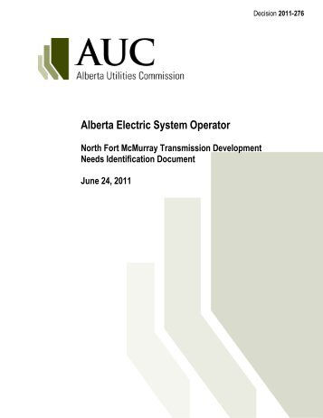 2011-276: AESO North Fort McMurray Transmission ... - AUC.ab.ca