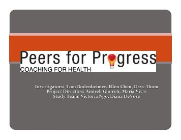 Peer Coaching for Low-Income Patients with Diabetes in Primary ...
