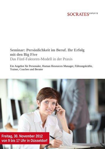 Seminar: Persönlichkeit im Beruf. Ihr Erfolg mit ... - Socrates Experts