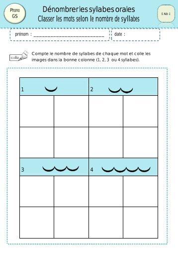 Manipuler les syllabes 4 classeurdecole - Couper les mots en syllabes ...