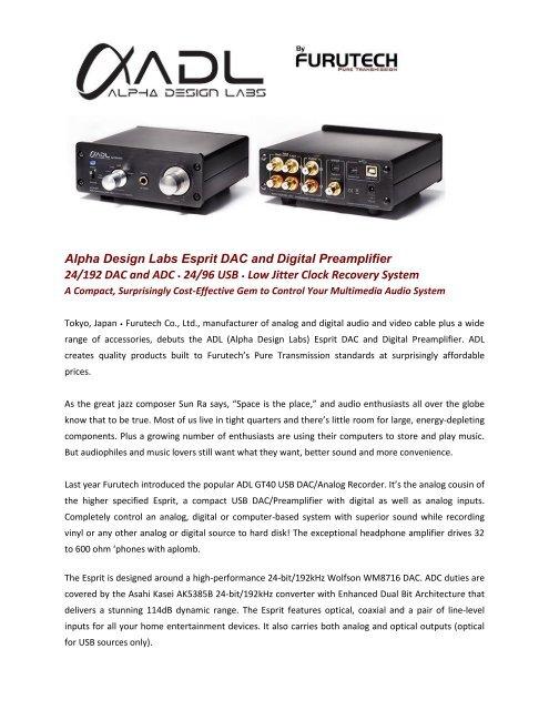 Alpha Design Labs Esprit DAC and Digital Preamplifier 24/192