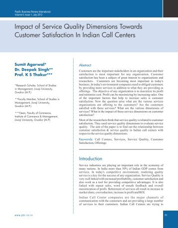 the impact of service quality on Abhinav international monthly refereed journal of research in management & technology 102 issn –2320-0073 volume ii, may'13 wwwabhinavjournalcom impact of service quality on customer.