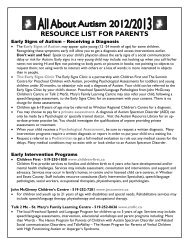RESOURCE LIST FOR PARENTS - Autism Ontario