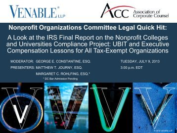 Nonprofit Organizations Committee Legal Quick Hit ... - Venable LLP