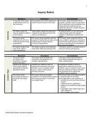 Inquiry Rubric - Alberta 1:1 Wireless Learning Community of Practice