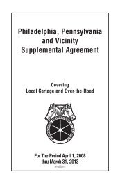 Philadelphia, Pennsylvania and Vicinity Supplemental Agreement