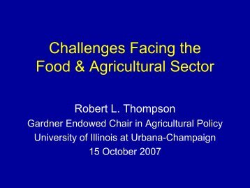 Challenges Facing the Food & Agricultural Sector - International ...